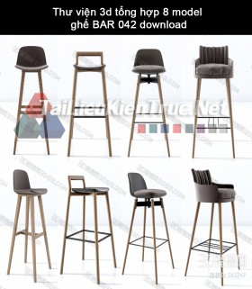 Thư viện 3d tổng hợp 08 model ghế BAR kiểu cách 042 download