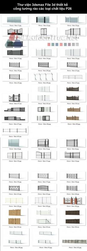 Thư viện 3dsmax File 3d thiết kế cổng tường rào các loại chất liệu P26