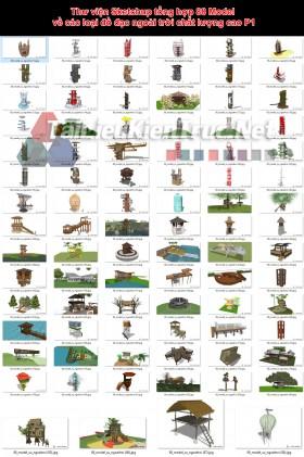 Thư viện Sketchup tổng hợp 88 Model về các loại đồ đạc ngoài trời chất lượng cao P1