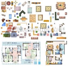 Thư viện mặt bằng Photoshop tổng hợp về Các loại đồ đạc trong nhà 029 dowload