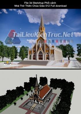 File 3d Sketchup Phối cảnh Nhà Thờ Thiên Chúa Giáo 012 Full download