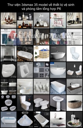 Thư viện 3dsmax 35 model về thiết bị vệ sinh  và phòng tắm tổng hợp P6