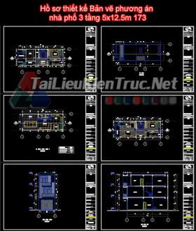 Hồ sơ thiết kế Bản vẽ phương án  nhà phố 3 tầng 5x12.5m 173
