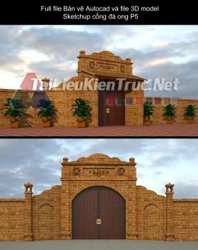 Full file Bản vẽ Autocad và file 3D model Sketchup cổng đá ong P5
