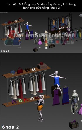 Thư viện 3D tổng hợp Model về quần áo thời trang dành cho cửa hàng, shop 2