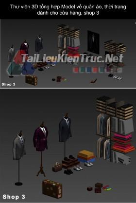 Thư viện 3D tổng hợp Model về quần áo thời trang dành cho cửa hàng, shop 3
