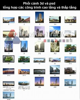 Phối cảnh 3d và psd tổng hợp các công trình cao tầng và thấp tầng 1