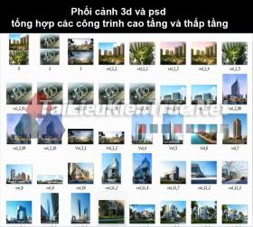 Phối cảnh 3d và psd tổng hợp các công trình cao tầng và thấp tầng 2