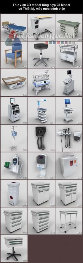 Thư viện 3D model tổng hợp 25 Model về Thiết bị, máy móc bệnh viện