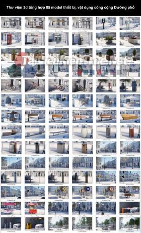 Thư viện 3d tổng hợp 85 model thiết bị, vật dụng công cộng Đường phố