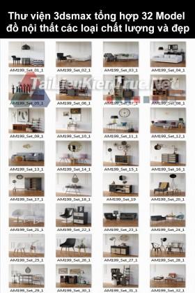 Thư viện 3dsmax tổng hợp 32 Model đồ nội thất các loại chất lượng và đẹp