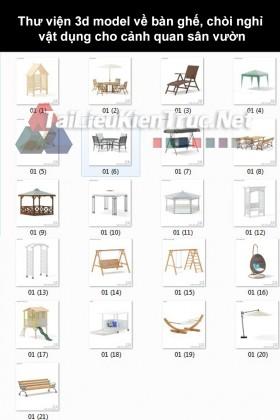 Thư viện 3d model về bàn ghế, chòi nghỉ, vật dụng cho cảnh quan sân vườn