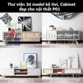 Thư viện 3d model Kệ tivi, Cabinet đẹp cho nội thất P01