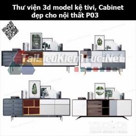 Thư viện 3d model Kệ tivi, Cabinet đẹp cho nội thất P03
