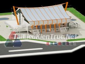 Đồ án K9 kiến trúc sư - Đồ án nhà thi đấu gồm bản vẽ autocad và ảnh pano