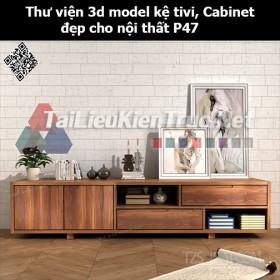 Thư viện 3d model Kệ tivi, Cabinet đẹp cho nội thất P47