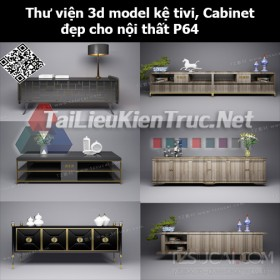 Thư viện 3d model Kệ tivi, Cabinet đẹp cho nội thất P64