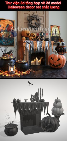 Thư viện 3d tổng hợp về 3d model Halloween decor set chất lượng