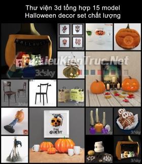 Thư viện 3d tổng hợp 15 model Halloween decor set chất lượng