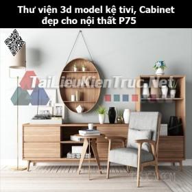Thư viện 3d model Kệ tivi, Cabinet đẹp cho nội thất P75