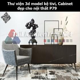 Thư viện 3d model Kệ tivi, Cabinet đẹp cho nội thất P79