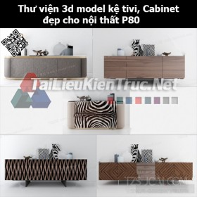 Thư viện 3d model Kệ tivi, Cabinet đẹp cho nội thất P80