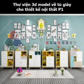 Thư viện 3d model về tủ giày cho thiết kế nội thất p1