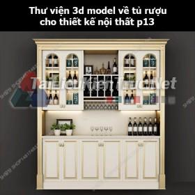 Thư viện 3d model về tủ rượu cho thiết kế nội thất p13