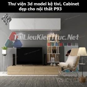 Thư viện 3d model Kệ tivi, Cabinet đẹp cho nội thất P93