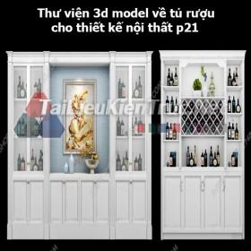 Thư viện 3d model về tủ rượu cho thiết kế nội thất p21