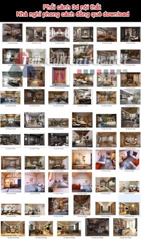 Phối cảnh 3d nội thất Nhà nghỉ phong cách đồng quê download