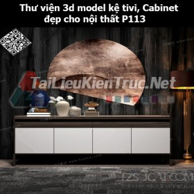 Thư viện 3d model Kệ tivi, Cabinet đẹp cho nội thất P113