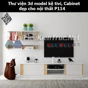 Thư viện 3d model Kệ tivi, Cabinet đẹp cho nội thất P114