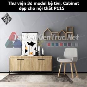 Thư viện 3d model Kệ tivi, Cabinet đẹp cho nội thất P115