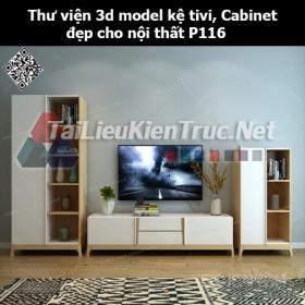 Thư viện 3d model Kệ tivi, Cabinet đẹp cho nội thất P116