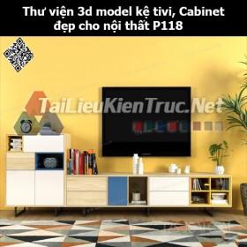 Thư viện 3d model Kệ tivi, Cabinet đẹp cho nội thất P118