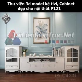 Thư viện 3d model Kệ tivi, Cabinet đẹp cho nội thất P121
