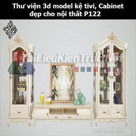 Thư viện 3d model Kệ tivi, Cabinet đẹp cho nội thất P122
