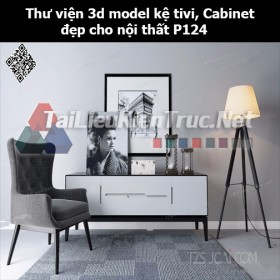 Thư viện 3d model Kệ tivi, Cabinet đẹp cho nội thất P124