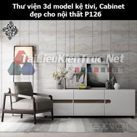 Thư viện 3d model Kệ tivi, Cabinet đẹp cho nội thất P126