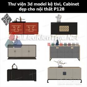 Thư viện 3d model Kệ tivi, Cabinet đẹp cho nội thất P128