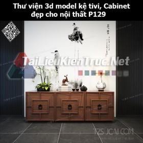 Thư viện 3d model Kệ tivi, Cabinet đẹp cho nội thất P129
