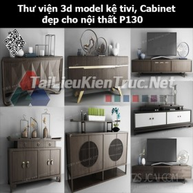 Thư viện 3d model Kệ tivi, Cabinet đẹp cho nội thất P130