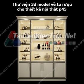 Thư viện 3d model về tủ rượu cho thiết kế nội thất p45