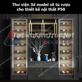 Thư viện 3d model về tủ rượu cho thiết kế nội thất p50