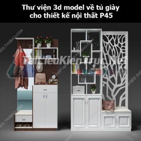 Thư viện 3d model về tủ giày cho thiết kế nội thất p45