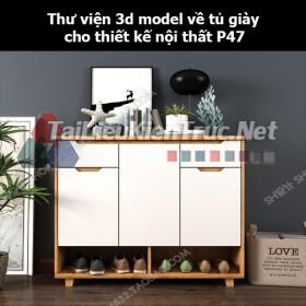 Thư viện 3d model về tủ giày cho thiết kế nội thất p47