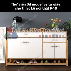 Thư viện 3d model về tủ giày cho thiết kế nội thất p48
