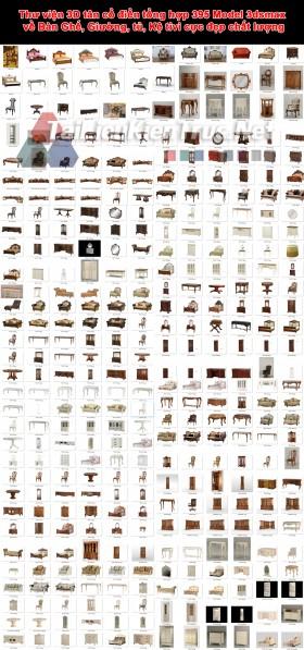 Thư viện 3D tân cổ điển tổng hợp 395 Model 3dsmax về Bàn Ghế, Giường, tủ, Kệ tivi cực đẹp chất lượng