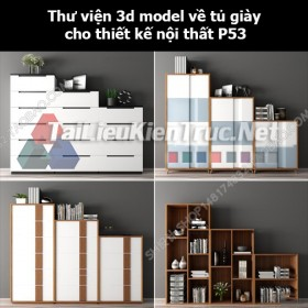 Thư viện 3d model về tủ giày cho thiết kế nội thất p53